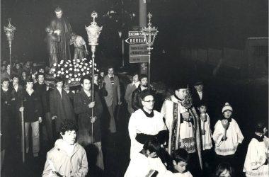 Processione di San Giovanni Bosco con don Francesco e don Recanati Gandino