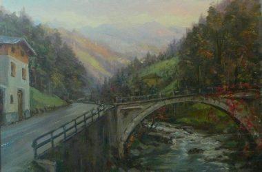 BRACCA - Ponte Merlo in quadro di Giacomo Gervasoni del 1970