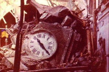 Cirano di Gandino, il crollo del campanile sulla chiesa (1968)