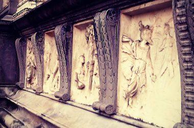 Dettagli facciata basilica di Santa Maria Maggiore, Bergamo