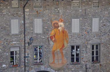 Dipinto piazza di Gromo