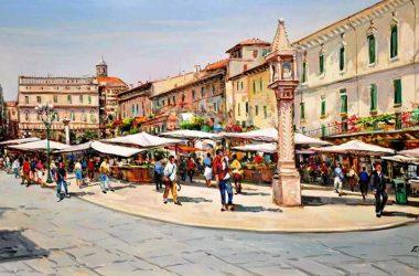 La piazza di Martinengo