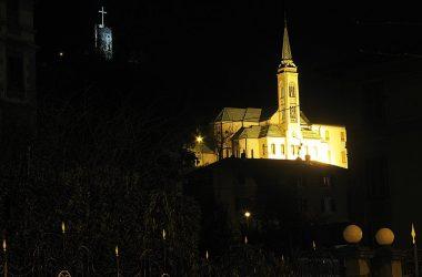 Lovere, il Santuario delle Santissime Gerosa e Capitanio e la Torricella visti dal Viale dei tigli