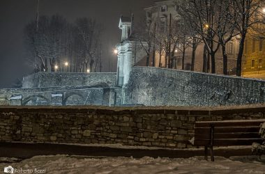 Neve in città alta Bergamo