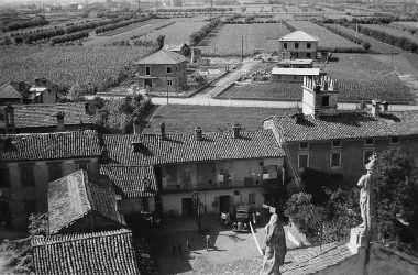 Orio al Serio vista dal campanile della chiesa nel 1950