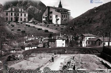 Piazza Brembana (Bg) - Primi anni 60 (Sistemazione vialetto Municipio)