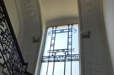 Vetrata Camino liberty 1907 nella Villa Giuseppe Faccanoni a Sarnico
